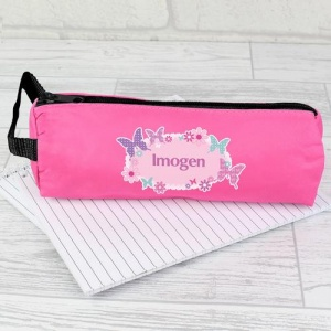 Personalised Pink Pencil Case - Butterfly