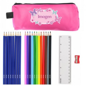Pink Butterfly Pencil Case & Personalised Pencils