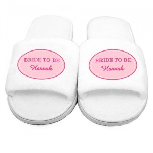 Personalised Velour Slippers - Pink Oval