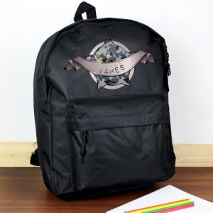 Personalised Black Backpack - Army Camo