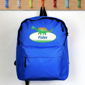 Personalised Blue Backpack - Dinosaur