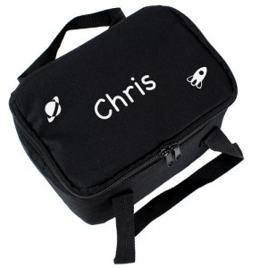 Personalised Black Lunch Bag - White Rocket