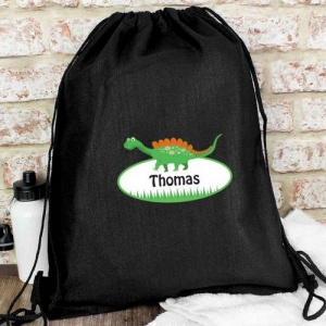 Personalised Black Swim & Kit Bag - Dinosaur