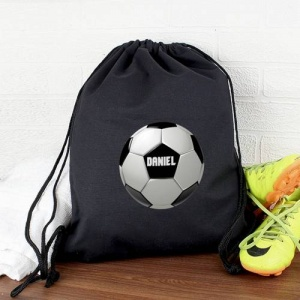 Personalised Black Swim & Kit Bag - Football