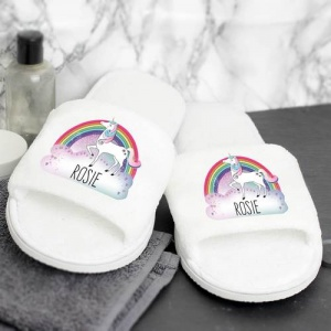 Personalised Velour Slippers - Unicorn