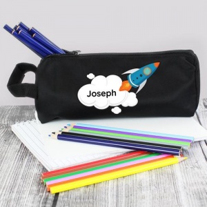 Personalised Black Pencil Case - Rocket