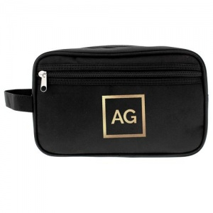 Personalised Black Wash Bag - Gold Initials