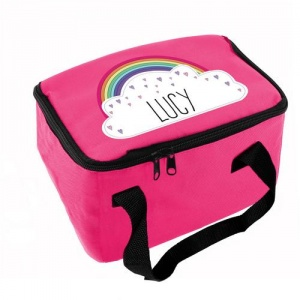 Personalised Pink Lunch Bag - Rainbow