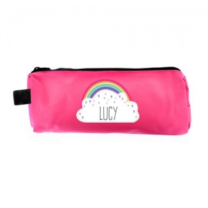 Personalised Pink Pencil Case - Rainbow