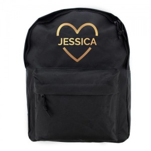 Personalised Black Backpack - Gold Vinyl Heart