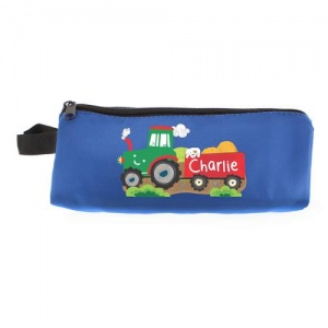 Personalised Blue Pencil Case - Tractor