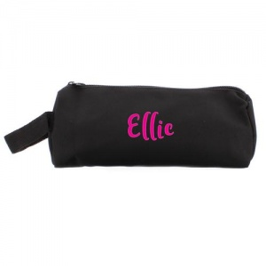 Personalised Black Pencil Case - Pink Name