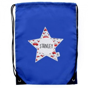 Personalised Blue Kit Bag - Star With Car Pattern