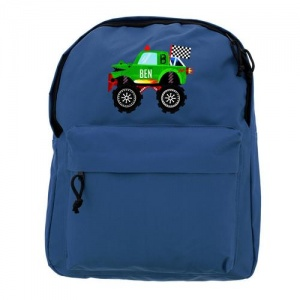 Personalised Blue Backpack - Monster Truck