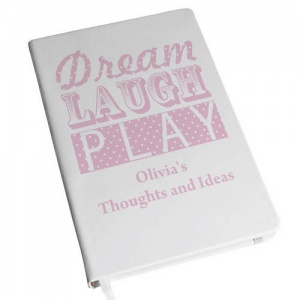 Dream Laugh Play Pink Hardback A5 Notebook