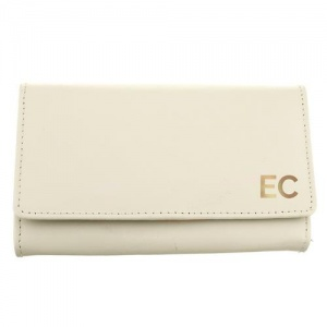 Personalised Cream Leather Purse - Gold Initials