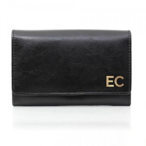Personalised Black Leather Purse -  Gold Initials