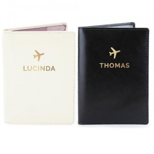 Personalised Passport Holders Set - Gold Name
