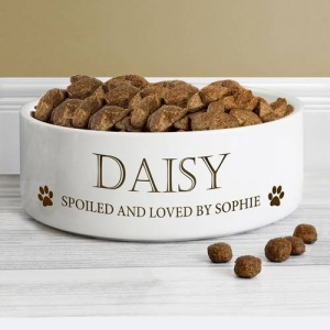 Personalised Paws White Pet Bowl