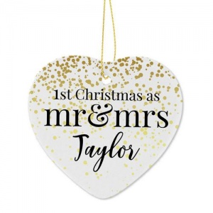 Personalised 1st Christmas Ceramic Heart Decoration - Mr and Mrs
