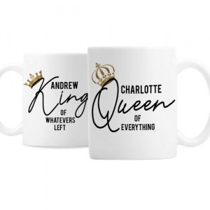 Personalised Ceramic Mug Set - King and Queen of Everything