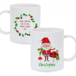 Personalised Plastic Mug - Christmas Toadstool and Santa