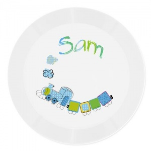 Personalised Plastic Plate - Patchwork Train
