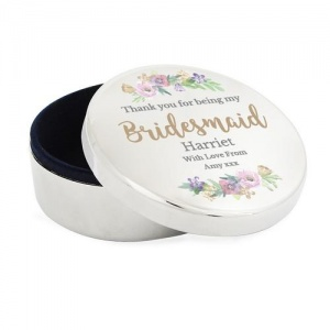 Personalised Trinket Box - Bridesmaid Floral Watercolour
