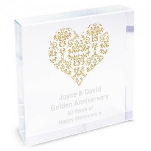 Personalised Crystal Token - Damask Heart