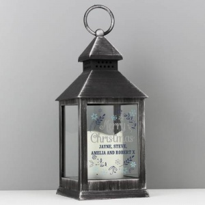 Personalised Black Lantern - Christmas Frost