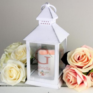 Personalised White Lantern - Floral Bouquet