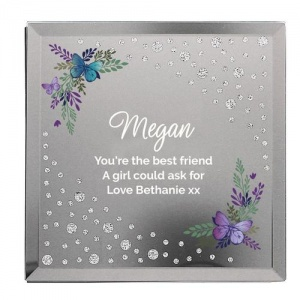 Personalised Glass Trinket Box - Floral Butterfly