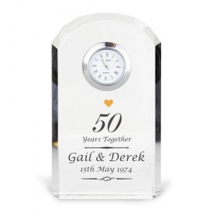 Personalised Crystal Clock - Golden Anniversary