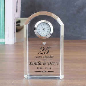 Personalised Crystal Clock - Silver Anniversary