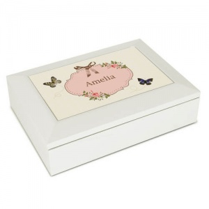 White Jewellery Box - Delicate Butterfly