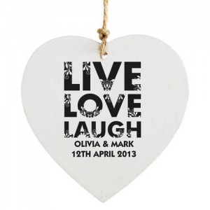 Wooden Heart Decoration - Live Love Laugh