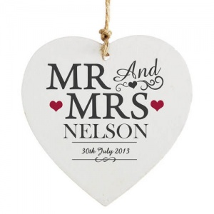 Personalised Wooden Heart Decoration - Mr & Mrs
