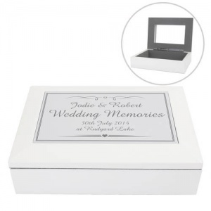 White Wooden Keepsake Box - Elegant Silver