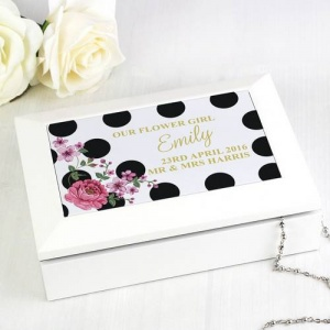 Personalised Jewellery Box - Floral Dot