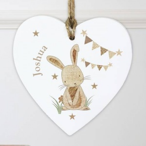 Personalised Wooden Heart - Hessian Rabbit