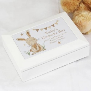 Personalised Wooden Jewellery Box - Hessian Rabbit