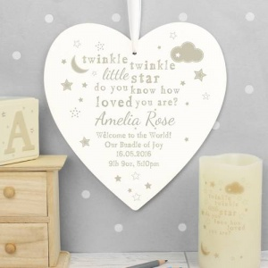 Large Wooden Heart - Twinkle Twinkle