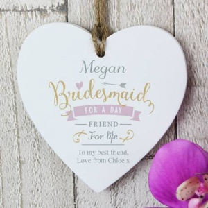 Personalised Wooden Heart - Bridesmaid