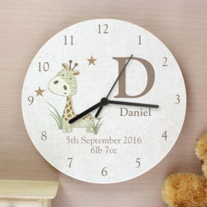 Personalised Shabby Chic Wooden Clock - Hessian Giraffe