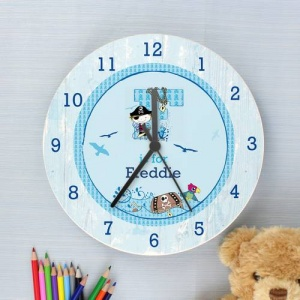 Personalised Shabby Chic Wooden Clock - Pirate