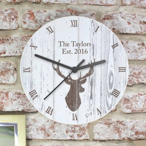 Personalised Shabby Chic Wooden Clock - Highland Stag