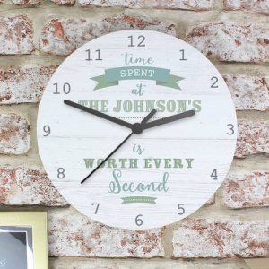 Personalised Shabby Chic Wooden Clock - Time Spent