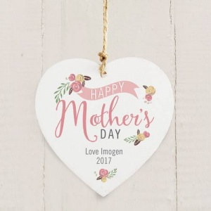 Personalised Wooden Heart - Floral Bouquet Mother's Day