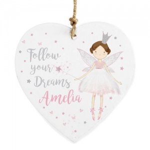 Personalised Wooden Heart Decoration - Fairy Princess