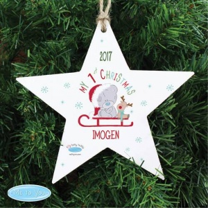 Personalised Tiny Tatty Teddy 1st Christmas Wooden Star